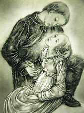Sulamith Wulfing 1937 GIRL SECURE in the ARMS of her LOVE Vintage Print Matted