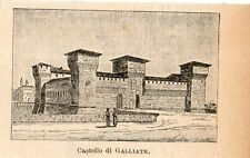 Stampa antica CASTELLO DI GALLIATE in miniatura Novara 1905 Old print