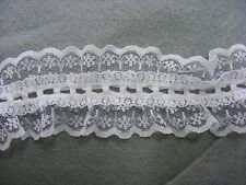 Gathered Lace & Eyelet White Double Sided 40mm wide  x 5 mts (RF720)