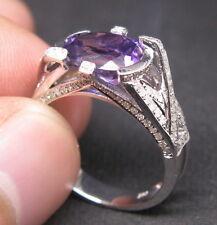 Solid 14K White Gold Genuine Natural VS Diamond Purple Amethyst Engagement Ring