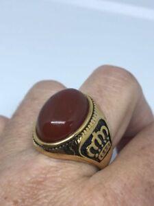 Vintage Golden Stainless Steel Genuine Carnelian Size 10.25 Men's Crown Ring