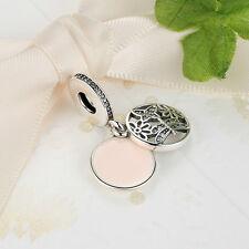 Black Friday Sterling Silver Spring Pink Enamel Flower European Charm Pendant