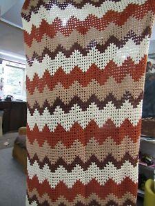 """Vintage Hand Made 56"""" x 82"""" Brown & Tan Afghan Lap Blanket"""