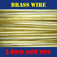 5 METRES SOLID BRASS WIRE, 2.0mm = 14G SWG = 12G AWG UNCOATED AND BARE