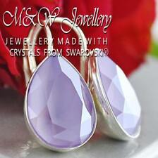 925 SILVER EARRINGS *PEAR* FANCY STONE 14MM LILAC CRYSTALS FROM SWAROVSKI®