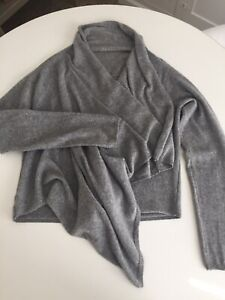 Gray Pure Cashmere Wrap Sweater - OS