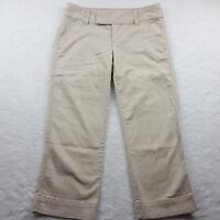 EXPRESS Womens Size 0 Cropped Khaki Capri Pants Ivory, Ultra Low Rise, Inseam 22