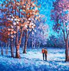 """""""Walks in the Woods"""" 24""""x 24"""" Original Oil Painting by A.Antanenka,Palette Knife"""