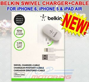 BELKIN SWIVEL CHARGER + CABLE FOR iPHONE, iPAD, iPOD 10W, 2.1Amp F8J032tt04-WHT