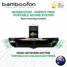 BambooFon - Energy Free Portable Sound System - Black (Travel Bag Included)