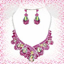 FUCHSIA SILVER  AB     rhinestone necklace Crystal Teardrop  Evening Necklace