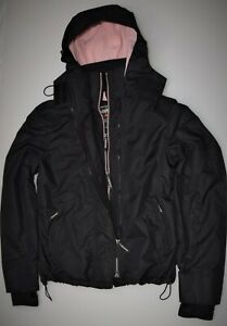New Kids Children Superdry Pop Zip Hooded Arctic Windcheater Black -Pink 12 Yrs