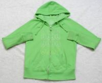 Peace Out Hooded Sweatshirt Green Top Long Sleeve Cotton Polyester Size Small
