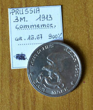 MONETA PRUSSIA 3 MARK 1913 COMMEMORATIVA ARGENTO 900 gr 16,67 RARO SUBALPINA