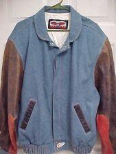 JEFF HAMILTON Cotton Blue Denim Leather Sleeve Snap Button Jean Jacket L JH