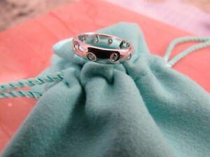 TIFFANY & CO. Etoile Diamond Platinum Ring Wedding Band 0.22 CTW Sz 4 H A$5,050