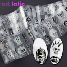 100*4cm Punk Zombie Design Nail Transfer Foil Stickers Glue King Skull Head