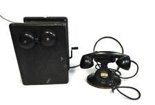 Antique Western Electric 400K Wood Crank Phone + D1 F1 Handset No Dial