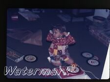 1972  35mm Photo slide  girls playing with Red Raven Movie Records player E