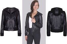 Ladies New Black Long Sleeves Hooded Leather Look Biker Jacket Coat Bomber