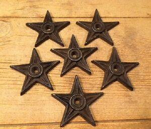 "Cast Iron Center Hole Star Anchor Plates 4"" (Set of Six) Home Decor 0170-02107"