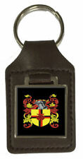 Finn Family Crest Surname Coat Of Arms Brown Leather Keyring Engraved