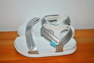 Native Shoes Girls' Charley Silver Metallic Slingback Sandals - Size 8, 11
