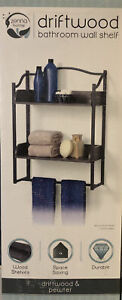 Zenna Home 8712GY 2-Tier Metal Bathroom Wall Shelf, Driftwood  & Pewter