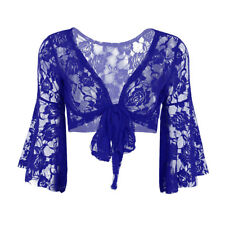 Sexy Women Belly Dance Bolero Butterfly Lace Top Shrug Blouse Dancing Wrap Dress