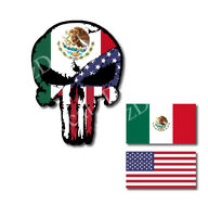Mexico USA Flag Punisher Skull Two Flags Vinyl Decal Sticker Jeep Truck Car Jeep