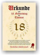 Geschenkidee zum 18. Geburtstag Urkunde Geburtstagsurkunde Geburtstagskarte NEU