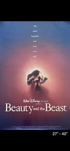 BEAUTY AND THE BEAST 1991 ORIGINAL MOVIE POSTER TEASER 40x27 ROLLED TWO SIDED