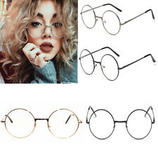 Classical Large Oversized Metal Frame Clear Lens Round Circle Eye Glasses Nerd