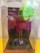 Scotch Magic Tape Dispenser Martini Cosmopolitan Lime Cocktail Glass Office Desk