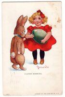 092720 VINTAGE EASTER A/S WALL BUNNY GIRL POSTCARD SERIES 94 1912