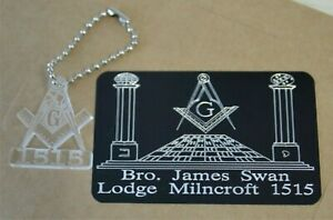 MASONIC BRIEFCASE ID PLATE PLAQUE REGALIA PERSONALISED GIFT WITH A FREE KEYRING
