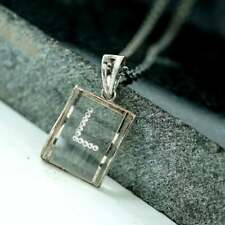 Natural Pave Diamond L Initial Locket Crystal Pendant 925 Silver Fine Jewels MB
