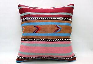 Kilim Ethnic Pillow, 20x20 in, Decorative Vintage Cushion, Handmade Boho Pillow