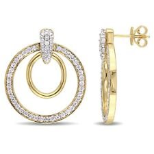 Amour 18k Yellow Gold over Silver Sapphire Dangle Double Drop Hoop Earrings
