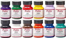 Angelus Acrylic Leather Paint /Dye - Leather & Vinyl - Starter Kit 12 Bottles