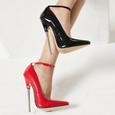 Women Super High Metal Heels Poined Toe Buckle Ankle Strap Club Sexy Shoes 36-46