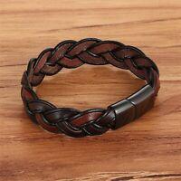 Bracelet cuir tressé noir et marron pour homme acier inoxydable 19/21/23 cm