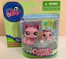 Littlest Pet Shop Cutest Pets Grooming Time Mommy Baby Pink Cats 2664 2665 RARE!
