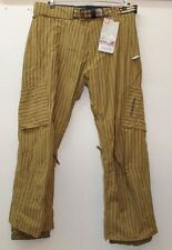 BNWT BURTON THE WHITE COLLECTION Men's Brown Striped Asym Ski Snow Trousers XL