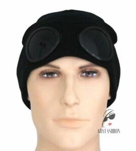 Mens Goggles Beanie Winter Warm BLACK