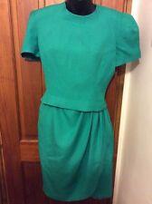 Green DRESS 8 LINEN  MIX Jade Green Unusual UK 8 SAKS 5th AVENUE Designer
