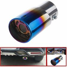 1Pc Stainless Steel Blue Colorful Round Autos Rear Exhaust Pipe Tail Muffler Tip