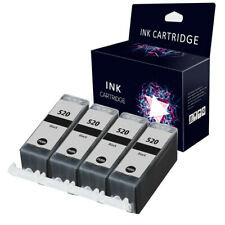 4 Black Ink Cartridges For Canon PGI-520 MP540 MP550 MP560 MP620 MP630 MP640