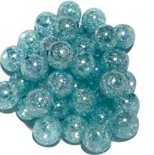 10 pieces 20mm aqua crackle chunky bubblegum beads DIY baby necklaces