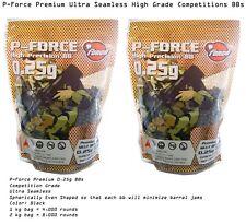 2 x P-Force Premium Precision Seamless  1 kg bag 0.25g BB's Black Airsoft BB .25